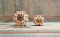 Painted Porcelain Door Knobs - Orange